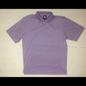 Footjoy FJ Mens Large Purple Striped Golf Polo